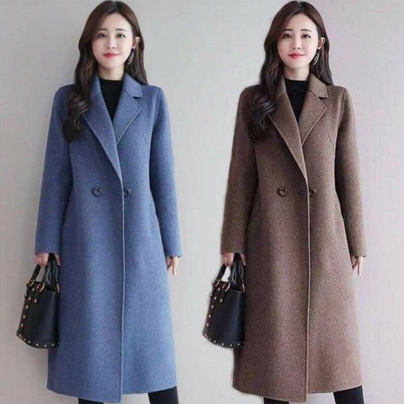Frauen Winter Koreanische Stil Schwarz Lange Wolle Mischung Graben Mantel 2020 Damen Mode Windjacke Kleidung Plus Größe 3XL