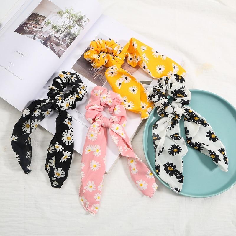Nova Moda Doce Scrunchie Mulheres Margarida Fita Elástica Faixas de Cabelo Impressão Arco Lenço de Cordas De Borracha de Cabelo Meninas Acessórios Para o Cabelo