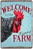 lznang metal tin signwelcome to the funny farm suitable for kitchens bars and clubs bathrooms retro living rooms cafes