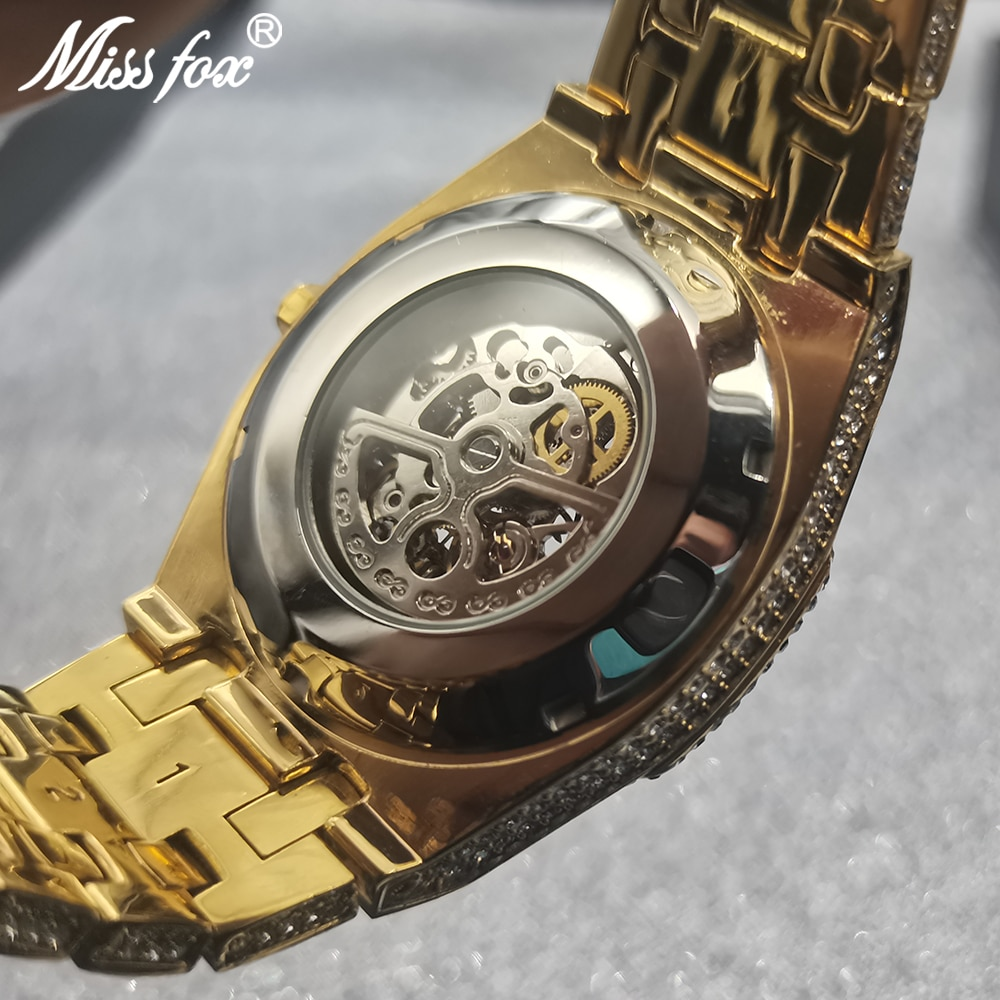 Hip Hop MISSFOX Iced Out Mens Watches Gold Luxury Hollow Automatic Mechanical WristWatch Full Steel Bling Male Jewelry Clocks enlarge