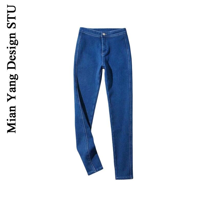 ميان يانغ بنطال جينز سترتش بسيط بخصر عالي للشتاء والخريف مخملي حراري بنطال بناطيل ضيقة تناسب الجسم بنطال ضيق ضيق