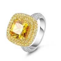luxury real s925 sterling silver rings 6a zircon yellow fine jewelry finger ornaments accessories
