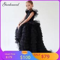 gardenwed a line blackwhite simple flower girl dresses tulle layers tired prom dress kid cap shoulder ball gowncelebrity dress