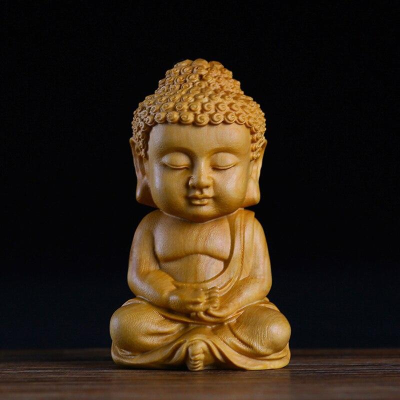 Статуя Будды из дерева Sakyamuni, деревянные ремесла для автомобиля, домашняя Статуэтка для декора, маленький медитационный монах, миниатюрное ремесло для чая, питомца GY12 Статуи и скульптуры    АлиЭкспресс
