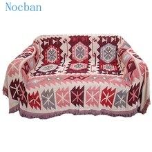 Couverture décorative en coton 100% coton   Motif géométrique rouge, couverture pour canapé, tapis multifonctionnel, lit, couverture, tapisserie