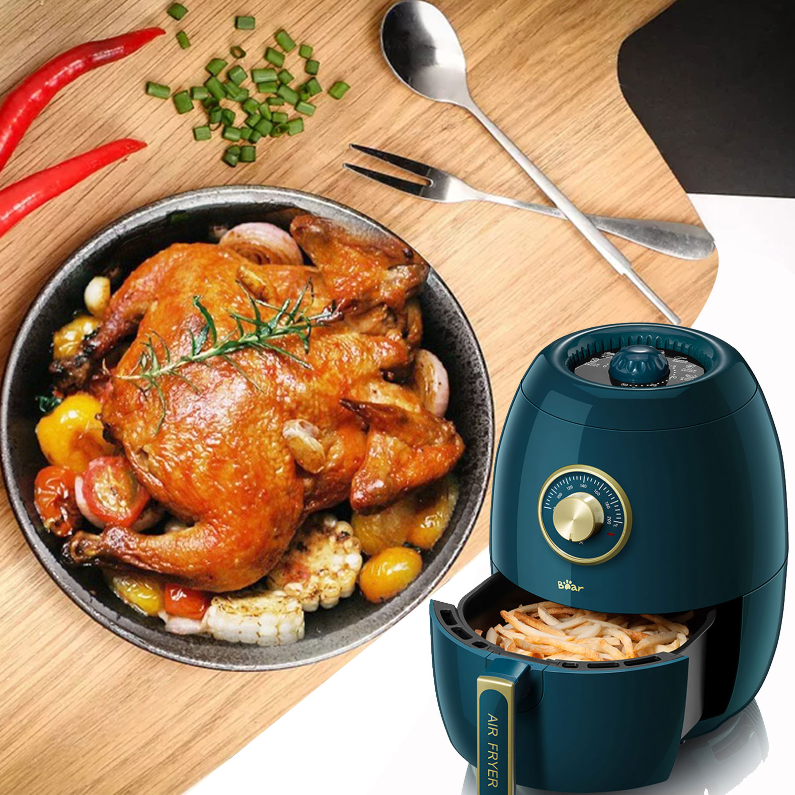 Bear 1350W 3L Electric Air Fryer Oven Intelligent Deep Airfryer without Oil Home Healthy Air Fryer 360° Baking Cooker