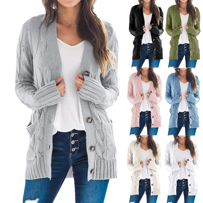 black v neck long sleeves casual sweaters with side pockets Women Knitted Cardigan Sweater Autumn Winter V-Neck Button Long Sleeve Sweaters Coat Casual Pockets Solid Femme Knitwear Coat