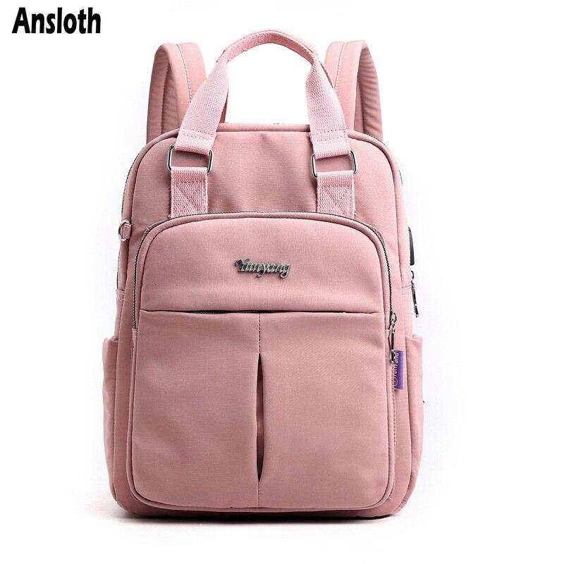 Ansloth Solid Color Backpacks Teenage Girls Waterproof Nylon School Bags Ladies Casual Backpacks Female Student Bags Pack HPS808