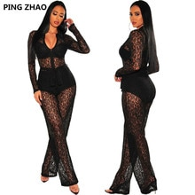 PING ZHAO Fall Sexy Lace Sashes Zipper Up Straight Jumpsuit for Women Sexy Club Partywear One Piece