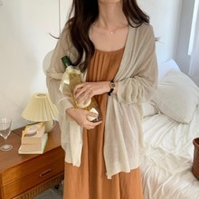Korean Chic Cardigan Summer French Pleated Loose Suspender Dress Holiday Style Sunscreen Knitted Car