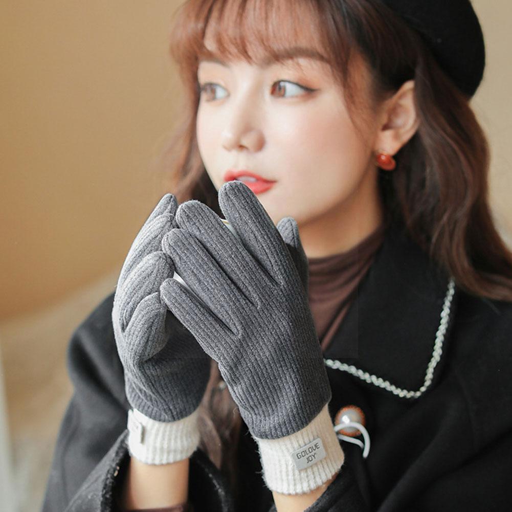 Новые женские теплые перчатки милые плюшевые теплые перчатки для верховой езды зимние теплые женские бархатные Осенние перчатки плюс Само...