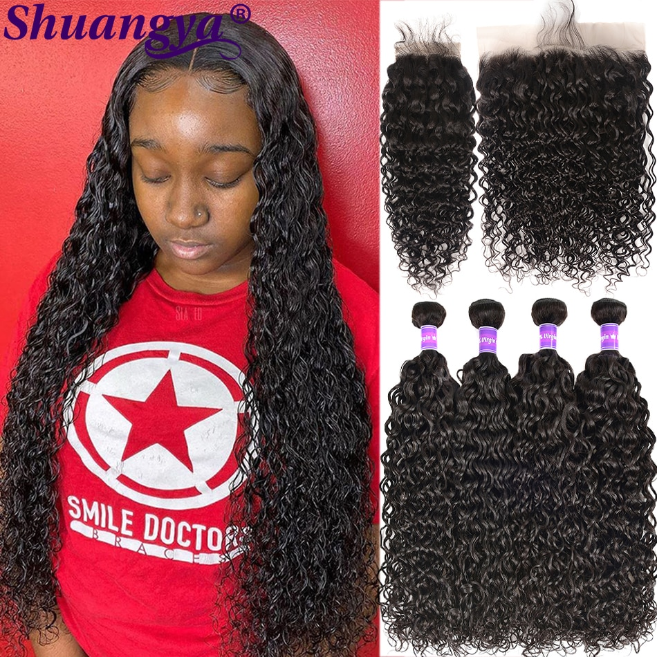 Water Wave Bundles With Frontal Remy Human Hair Bundles With Frontal Pre Plucked Peruvian Hair Bundles With13*4 Frontal shuangya