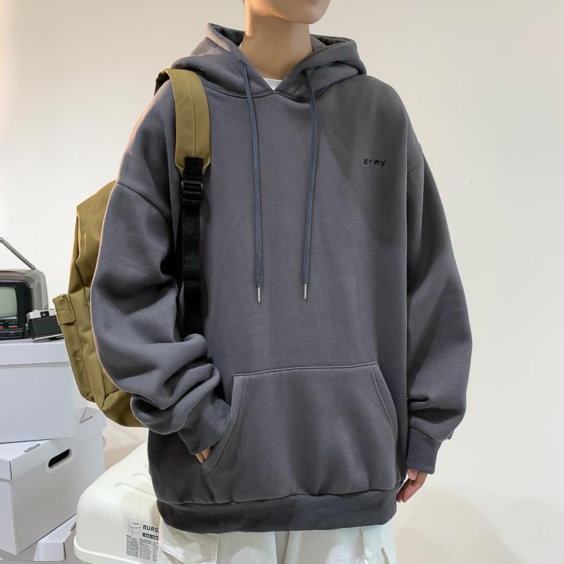 2021 Korean Couple Hoodie Fashion Blue Letter Print Oversized Sweatshirt Men's Casual Trend Loose So