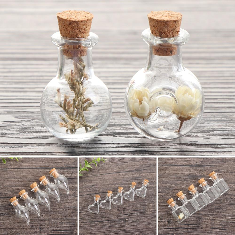 5 uds Mini botella de los deseos de vidrio corcho tapón frascos de muestra vacíos colgantes para manualidades de almacenamiento Vial boda decoración del hogar suministros