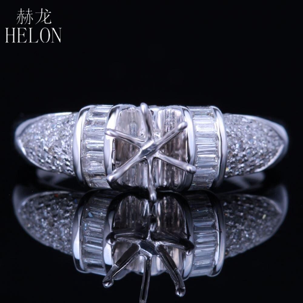 هيلون الجولة 6 مللي متر قطع الصلبة 14k الذهب الأبيض الحقيقي 0.5ct الماس الطبيعي شبه جبل خاتم الزفاف النساء العصرية غرامة مجوهرات