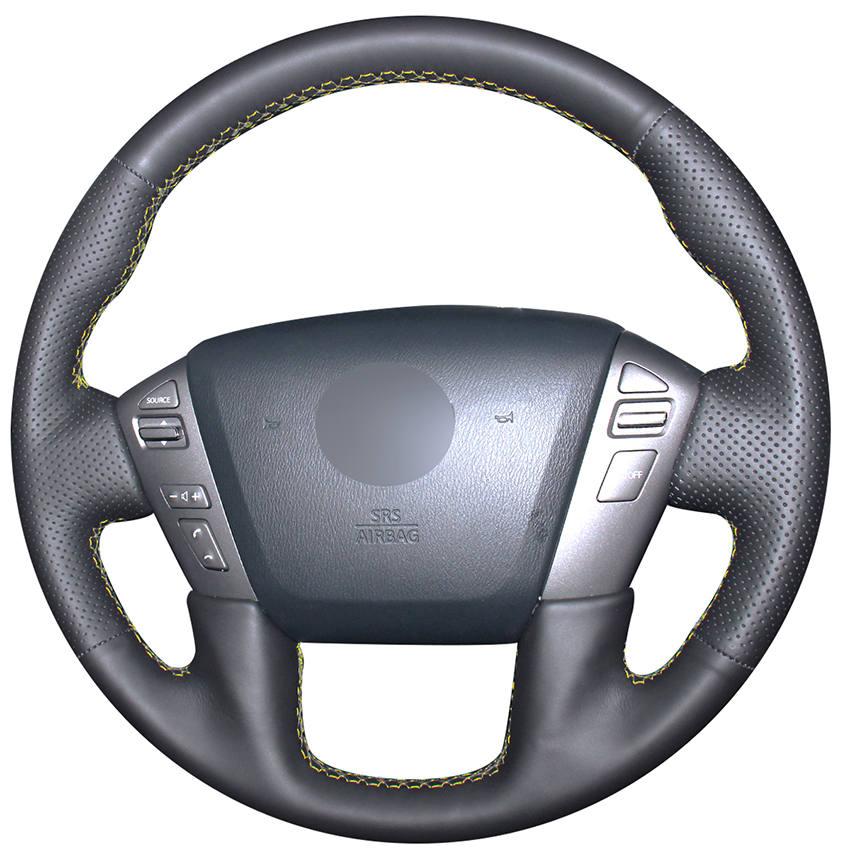 Negro cuero genuino protector para volante de coche para Nissan Patrol, Armada NV carga NV pasajero (NOS) Titan Infiniti QX56 2011