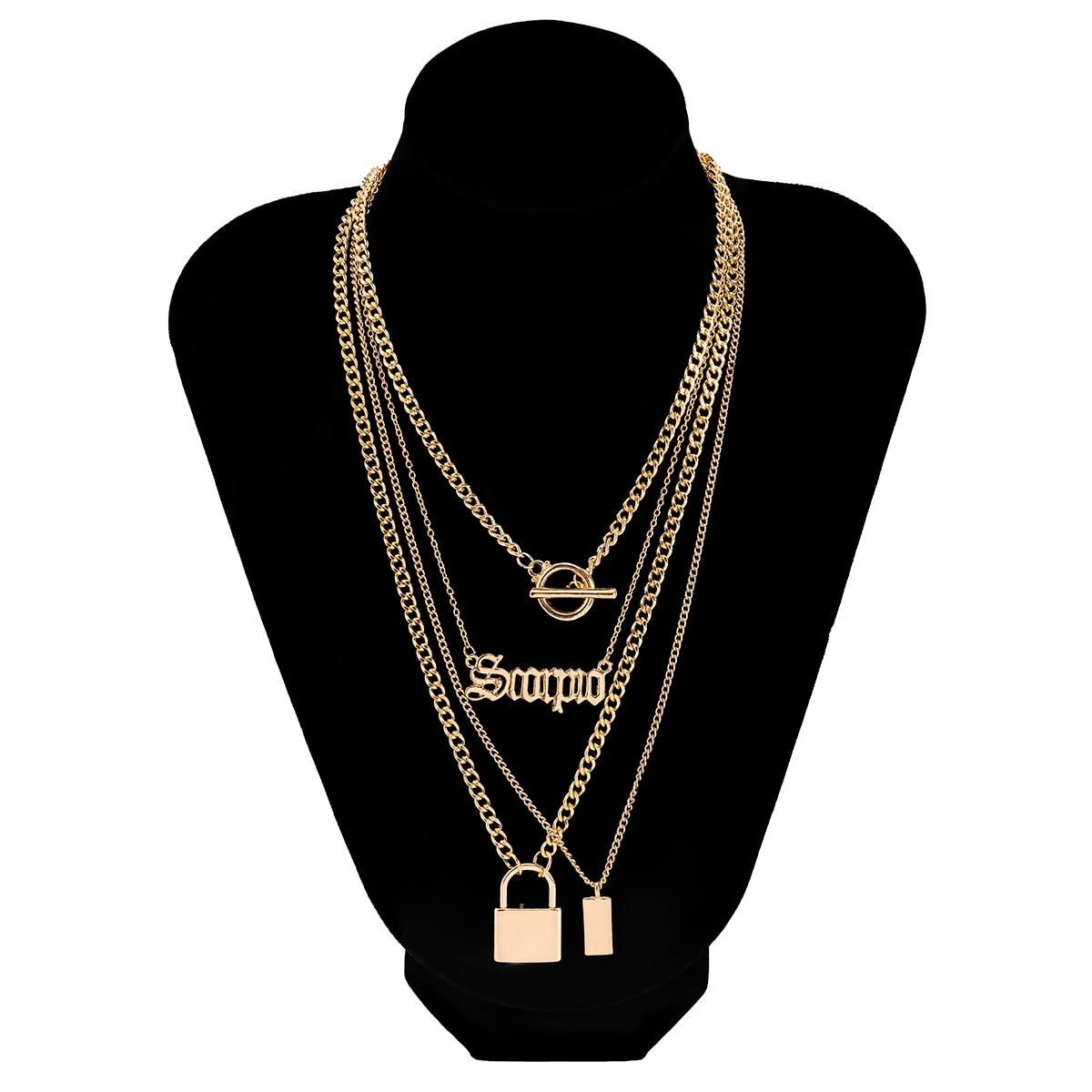 2Pcs/Set Punk Bijoux Toggle Clasp Choker Collier Fashion Scorpio Letter Lock Pendant Neck For Women Man Gothic Chain Necklace  - buy with discount