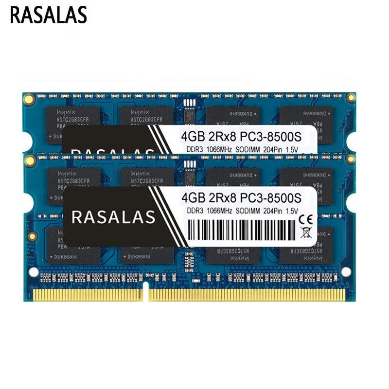 Memória RAM Laptop DDR3 Rasalas DDR3L 1.5V 1.35V 8500 10600 12800 1066 1333 1600 204pin SODIMM Memoria RAM Notebook CL7 CL9 CL11