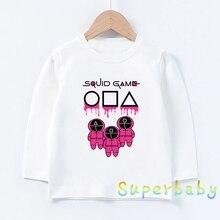 Squid Game Korean TV Cartoon Print Kids Funny T-Shirts Korean Style Girls Clothes Baby Boys Long Sle