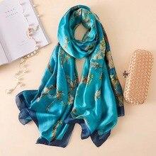 2020 marque de luxe été femmes écharpe mode qualité doux soie foulards femmes châles Foulard plage couvre-ups enveloppes soie bandana