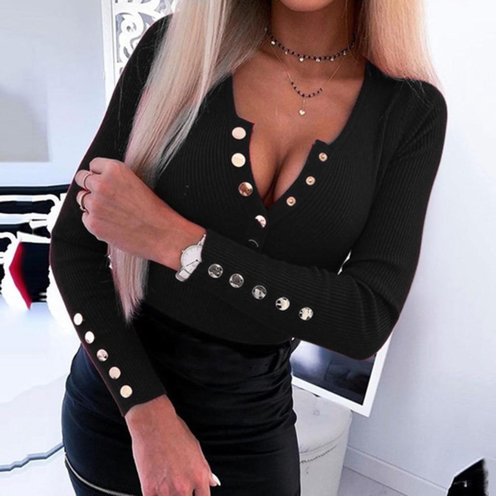 Blusas femininas 2020 primavera moda feminina manga comprida botão pescoço bodycon topo cor sólida casual fino ajuste blusa blusas femininas