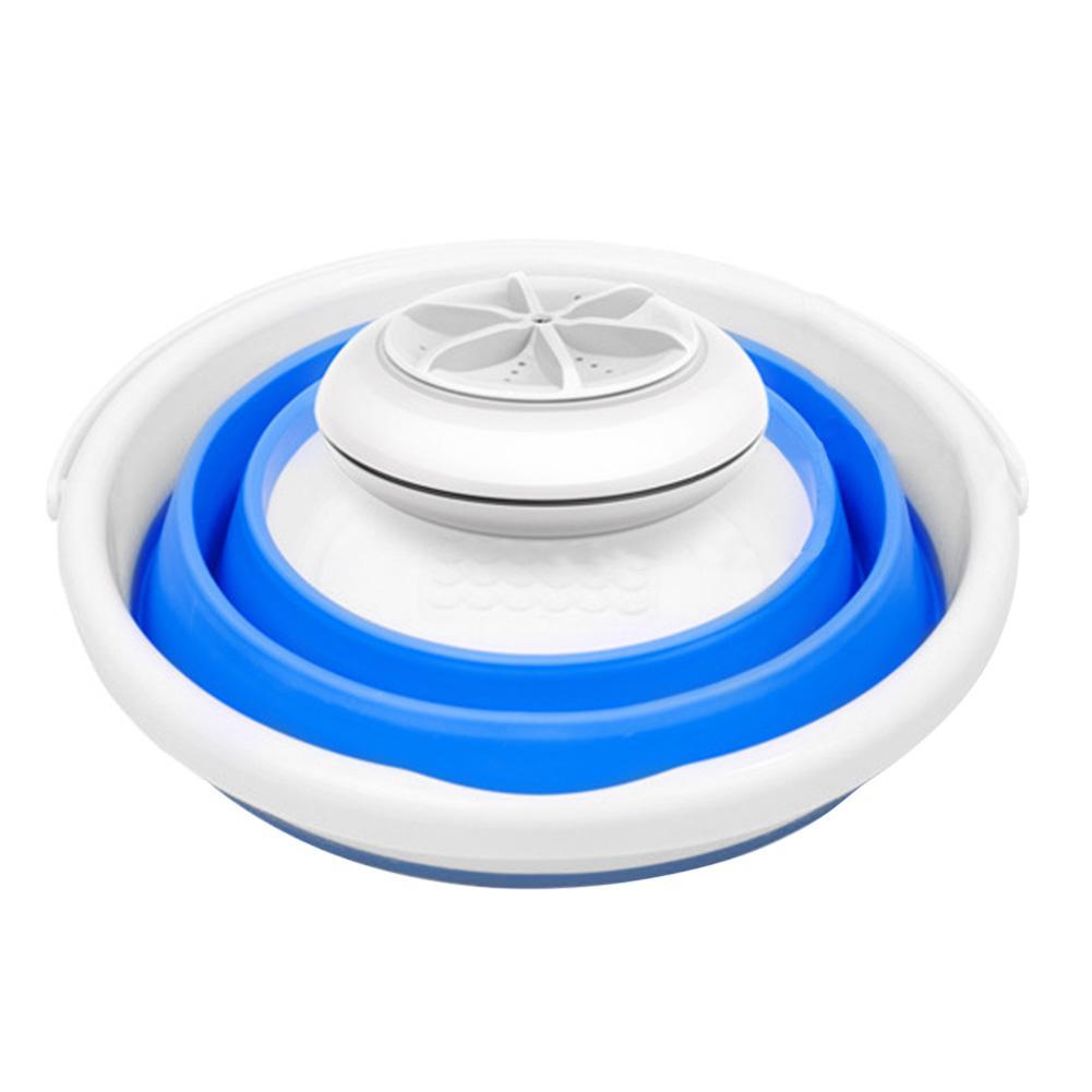 Mini portátil ultra-sônica turbina máquina de lavar roupa dobrável balde forma usb lavanderia lavadora mais limpo para viagens em casa