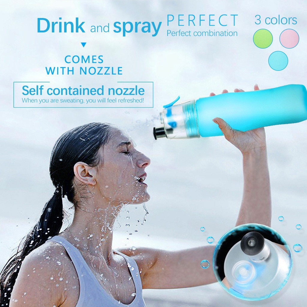 Botella refrigerante de aerosol deportivo de 740ML, taza de Agua pulverizada de niebla para ciclismo, botella para el gimnasio, botella para la playa a prueba de fugas, botella para acampar, senderismo