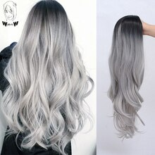 WHIMSICAL W Long Wavy Ombre Wigs Black Gray Synthetic Wig For Women Party Cosplay Heat Resistant Hair