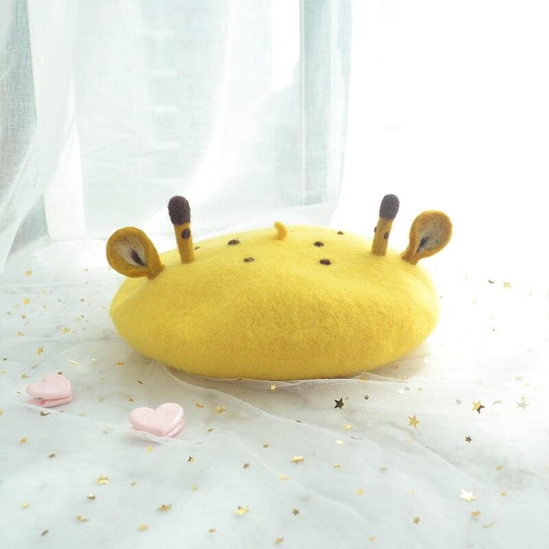 الأصلي لطيف اليابانية لينة فتاة الكرتون الزرافة القبعات اليدوية ورأى الصوف رسام قبعة الوالدين الطفل