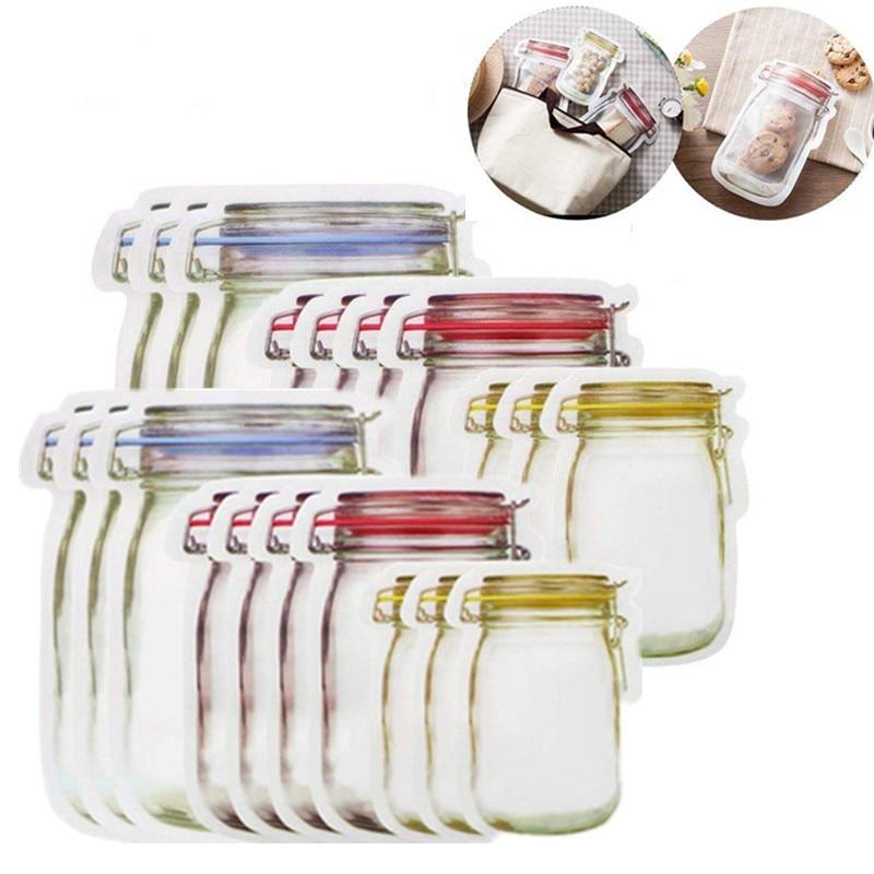 À prova dwaterproof água reusável mason jar garrafas para viagens de acampamento piquenique alimentos frescos sacos armazenamento selado lanches organizador ferramenta ao ar livre