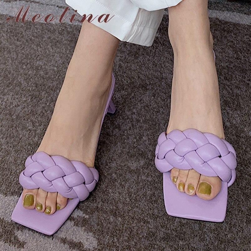 Meotina Women Shoes High Heel Slippers Square Toe Block Heels Ladies Slides Summer Causal Sandals Female Purple Large Size 40