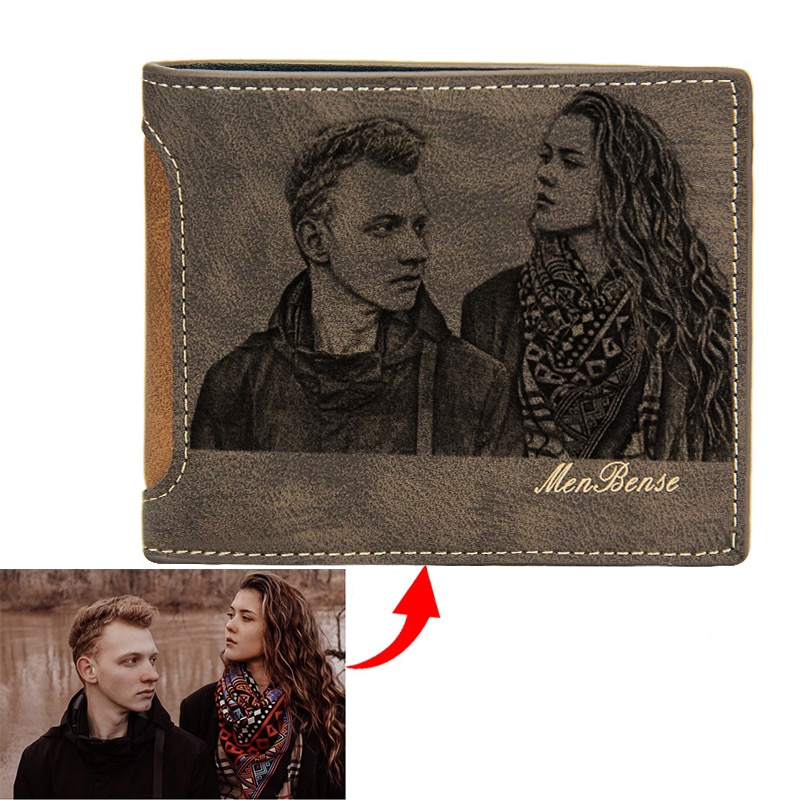 Custom Wallet Men Short Casual Splicing PU Leather Three Fold Multiple Card Slots Standard Wallets Photo Engraving Text