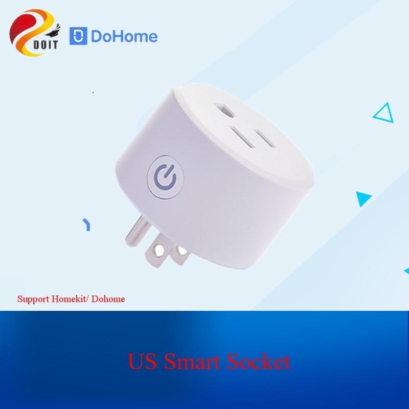 Dohome enchufe inteligente de EE. UU. Compatible con salida WiFi Siri interruptor de Control remoto enchufe de Control de voz Alexa/Asistente de Google FCC/CE Certifie