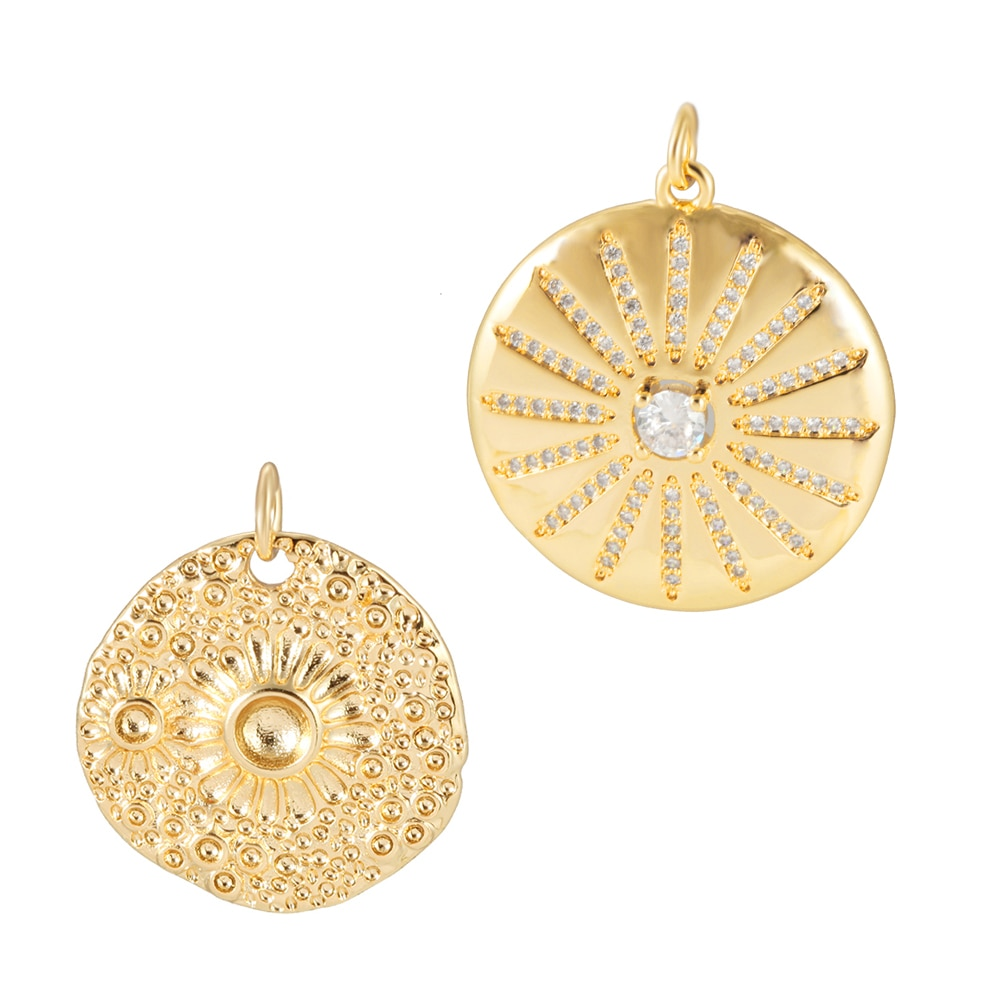 Abalorios de flores para la fabricación de joyas, suministros a granel, colgante de Metal con etiqueta redonda, accesorios para pendientes Diy, collar de cobre con agujero de 5mm