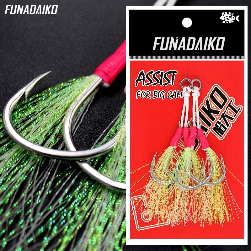 FUNADAIKO PIKE anzuelos de pesca anzuelo de pesca señuelo luminoso resplandor doble ganchos 1/0 2/0 3/0 4/0 5/0 anzuelo de acero rico en carbono