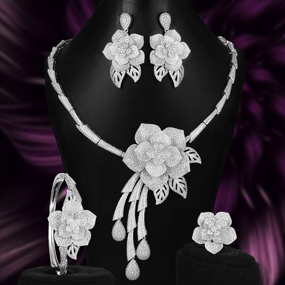 Missvikki noble nupcial 4 pçs flor colar de luxo + pulseira + brincos anel conjunto de jóias para casamento nupcial superstar mostrar jóias