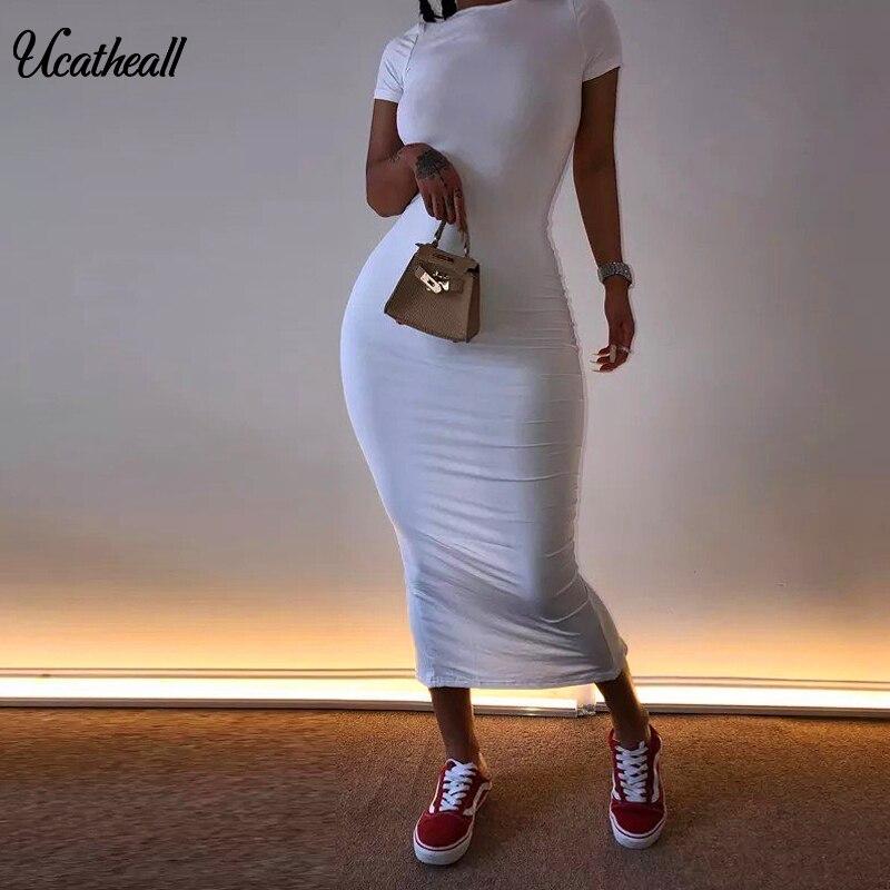 가방 힙합 슬림 기본 미디 드레스 솔리드 홀리데이 캐주얼 여름 드레스 여성 라운드 넥 반팔 매일 드레스