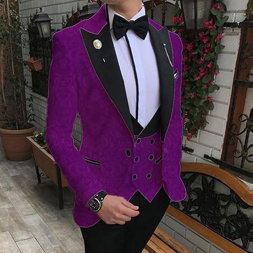 Trajes de Jacquard morado de ANNIEBRITNEY para hombre, trajes de boda de moda personalizados para hombre, chaqueta ajustada para novio, chaqueta de esmoquin, conjunto de pantalones y chaleco