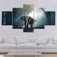 canvas painting 5 piece walking elephant sunset forest scenery painting prints poster home living room decoration