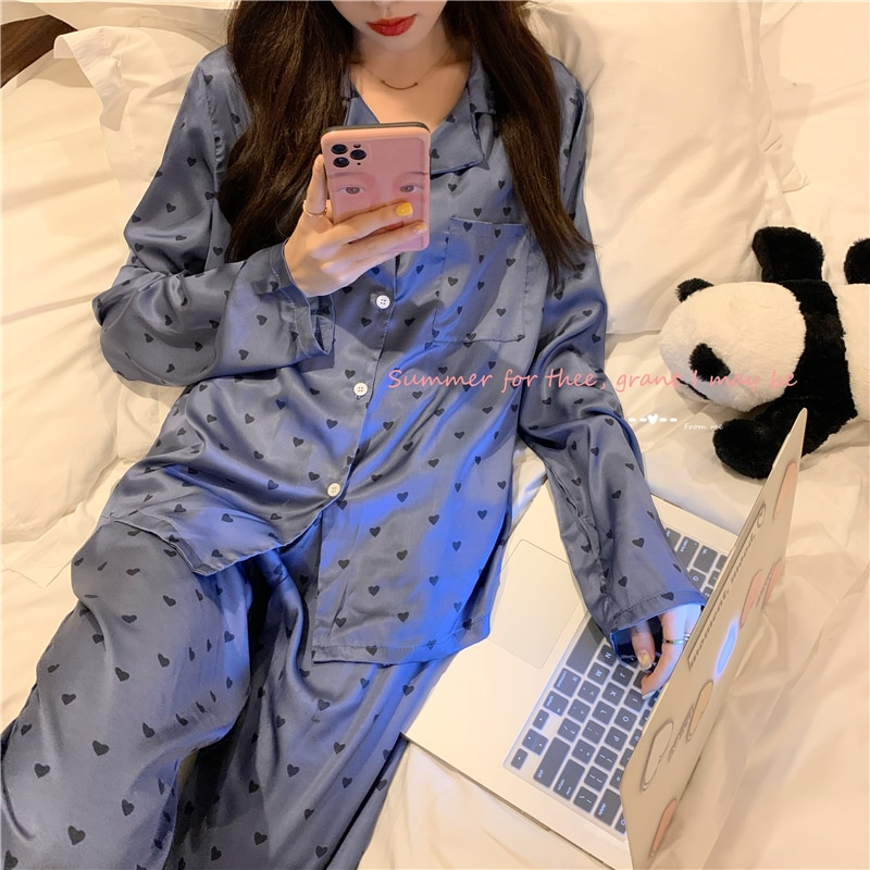 Pajamas Women's Spring New Purple Love Long Sleeve Trousers Suit Loose Casual Suitable for Daily Wea