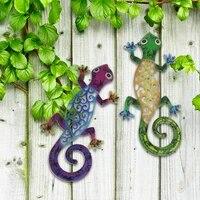 Gecko     decoration murale en metal  1 paire  decoration artistique pour cloture de jardin  maison