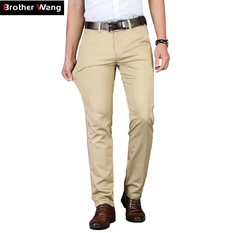 Pantalones casuales de color caqui de 5 colores para hombres, novedad de 2020, pantalones de algodón ajustados elásticos de moda de negocios de Color liso clásico, marca masculina