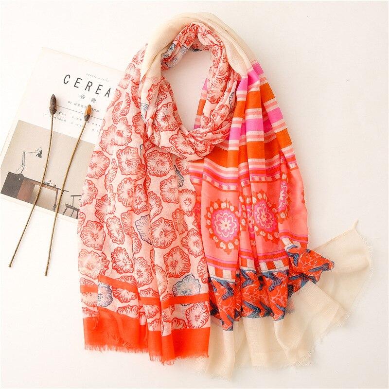 2021 Women New Fashion Brightful Abstract Viscose Shawl From Spain Print Wrap Pashmina Stole Bufanda Muslim Hijab Snood 180*90Cm