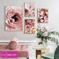 Toile de decoration de noel  affiches de peinture  pivoine rose  tableau dart mural pour salon  decoration de maison