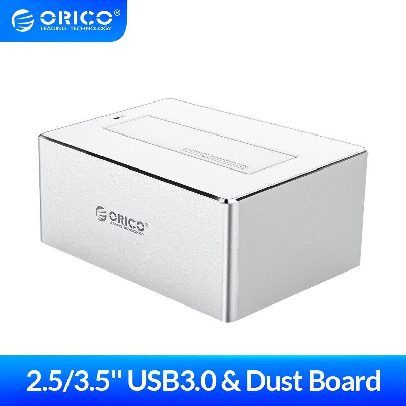 ORICO Funda de disco duro 2,5 3,5 ''HDD estación de acoplamiento SATA a USB 3,0 HDD caja soporte UASP aluminio duro carcasa de disco herramienta libre SSD