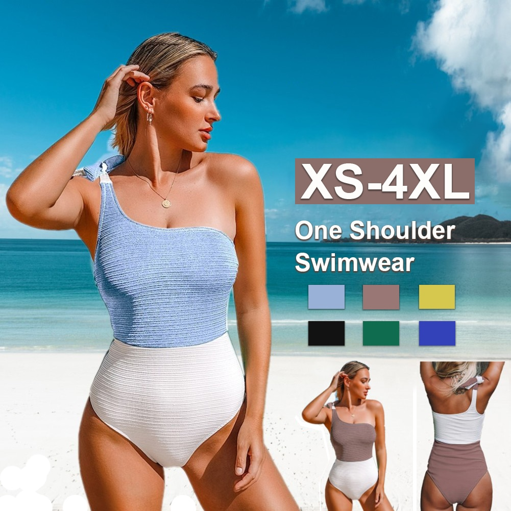 One Shoulder One-Piece Swimsuit Sexy Blue White Colorblock Women Tied Bow Monokini 2021 New Girls Beach Bathing Suits Swimwear