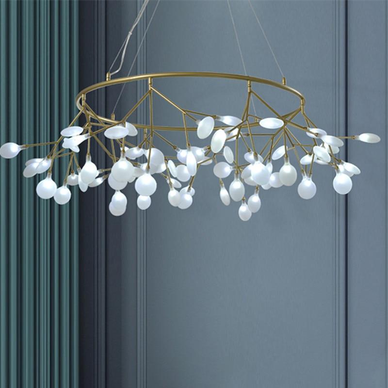 Lámpara de araña de diseñador nórdico, lámpara Heracleum para sala de estar, lámpara de araña de Círculo led negra y dorada, accesorios de iluminación