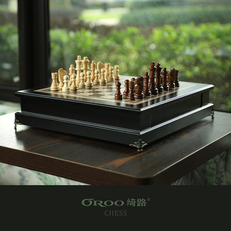 Luxury Chess Set Stone International Chess Large Classic Chess Set Wooden Tournament Tabuleiro De Xadrez Chess Games BG50CG