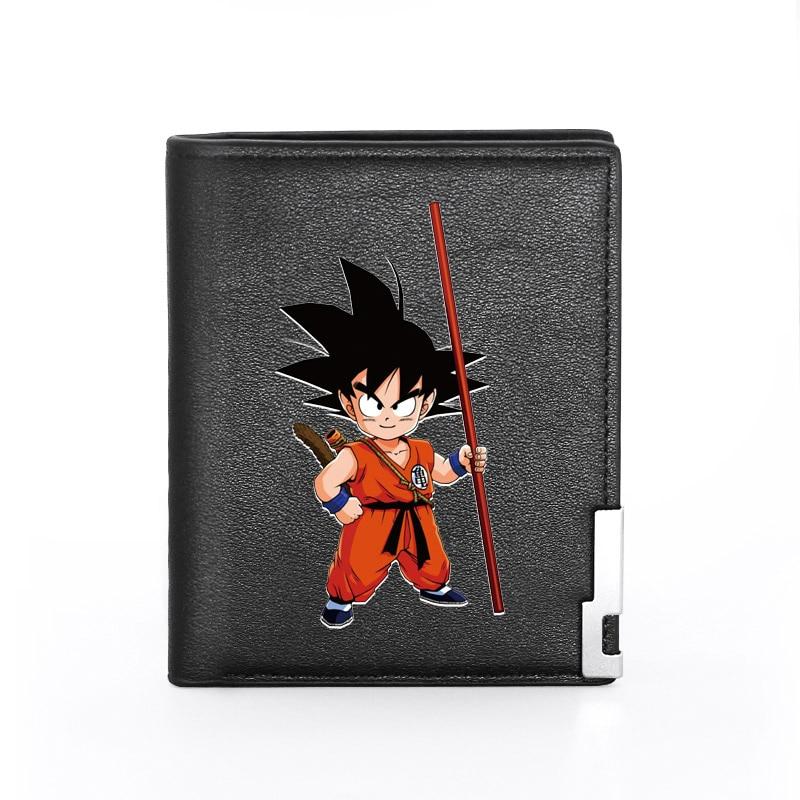 Cartera de cuero Pu negra con estampado de Goku de Dragon Ball, tarjetero plegable para hombre, monedero corto CCCP para hombre