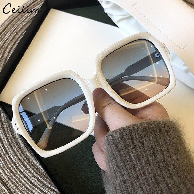 2020 nueva moda cuadrado blanco gafas de sol de la marca de lujo de las mujeres diseñador gradiente, transparentes tonos para mujer Retro gafas de sol UV400